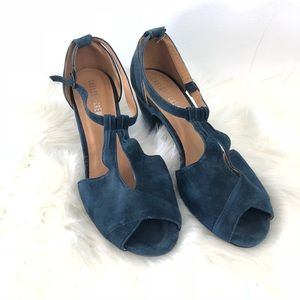 Chelsea Crew T-Strap Blue Suede Heels Size 40 (10)